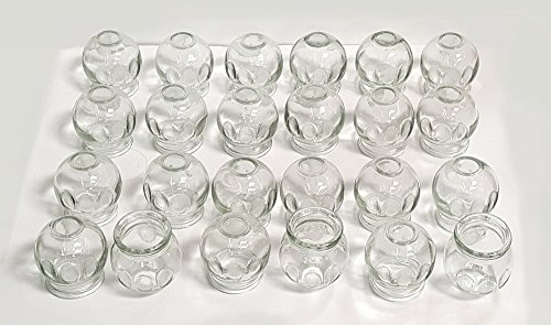 Glass Fire Cupping Jars with Finger Grips - #3 (Outer Dia. 2.2'), Set of 24 Cups