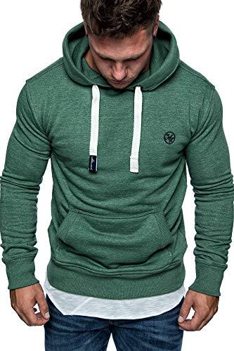 Amaci&Sons Herren Basic Logo Kapuzenpullover Sweatjacke Pullover Hoodie Sweatshirt 1-04028 Grün M