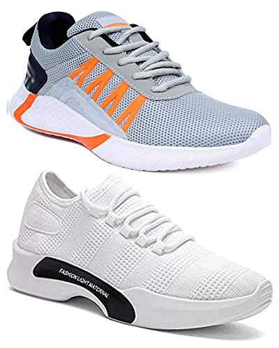 WORLD WEAR FOOTWEAR Men's (9212-9310) Multicolor Casual Sports Running Shoes (Set of 2 Pair)
