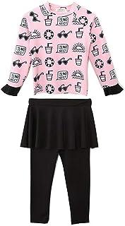 Baby Kids Girls 2pcs Swimwear Long Sleeve Sun Protection Cute Pattern Rash Guard Beach Pants Skirt Swimsuit Set UPF 50+