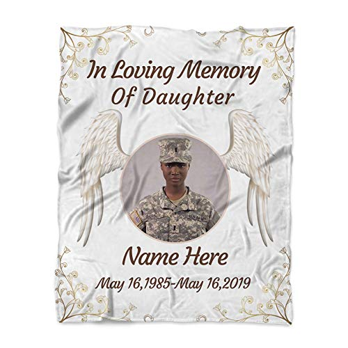 in Loving Memory of Daughter Memorial Ornament Sympathy Gift Memorial Loss of Soldiers Anniversary Family Friend Sympathy Gifts Funeral Service Condolence Angel Wings
