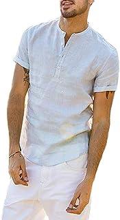 Camiseta de Manga Corta para Hombre Camisa Ajustada de Color Liso Camisa Ocio de Algodón y Lino con Cuello en V Blusa de M...