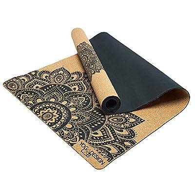 YOGA DESIGN LAB | The Cork Yoga Mat | Eco Luxury | Ideal for Hot Yoga, Power, Bikram, Ashtanga, Sweaty Workouts | Studio Quality | Includes Carrying Strap! (Mandala Black, 3.5mm)