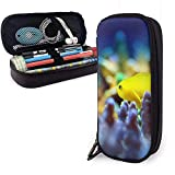Tropical Ocean Coral Aquarium Fish Pu Leather Pencil Case, Pen Bag, Durable Stationery Organizers With Elastic Belts