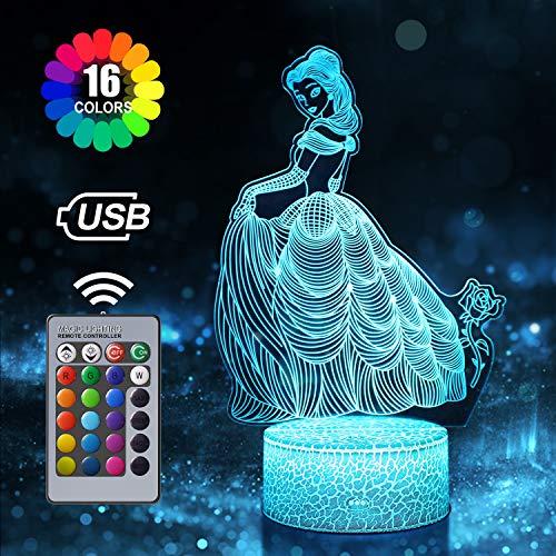 Prinzessin Nachtlicht für Kinder, 3D Illusion Lampe 16 Farben Ändern mit Fernbedienung, Geburtstags Geschenkes und Weihnachtsgeschenke für Mädchen