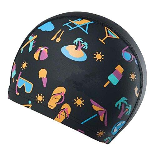 Casquette de Natation pour Enfant, Unisexe/Enfants Bonnet de Bain, pour Les Cheveux Longs, Protecteur d'oreille, D02