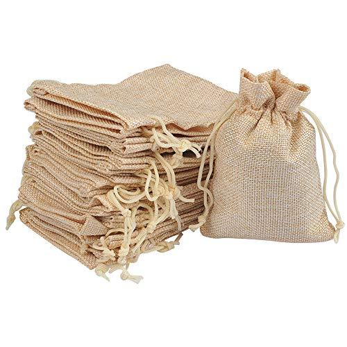 FOCCTS 25pcs Bolsas Naturales de Regalo Joyas - Bolsas de arpillera de Lino y algodón con Bolsas de Regalo con cordón Bolsa de joyería para Banquete de Boda y Bricolaje Artesanal (10 x 14 cm)