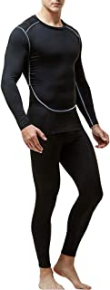 Men's Thermal Underwear Set, Base Layers Winter Sports Gear Compression Long Johns for Men - Long Sleeve Tops & Pants