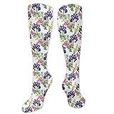 Calcetines de sandalia, estilo acuarela, para verano, jardín, orquídeas moradas y crisantemos rosados, calcetines divertidos para mujer, calcetines de algodón para mujer, calcetines de algodón