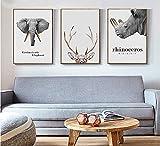 Impresiones Sobre Lienzo,3 Grupo De Elefantes Y Rinocerontes Elk Animales Nórdicos Póster Lienzo Moderno Imprimir Imagen Wall Art Pop De Ilustraciones Para Salón Dormitorio Decoracion Manualidades