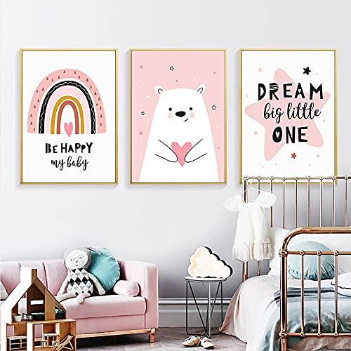 LZASMMVP Love Bear Wall Art Prints Pink Rainbow Lienzo Pintura Happy Dream Nursery Poster Imagen de Pared para niñas Dormitorio Decoración del hogar | 40x60cmx3 Sin Marco