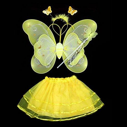 HuntGold bébé fille Fée Ange Stage Costume Photo Aile de papillon + Baguette + bandeau + Robe Ensemble (Jaune)