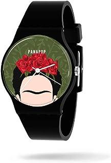 Panapop Viva la Vida Frida Kahlo, Orologio da polso analogico da donna con fibbia HQ Premium, Cinturino in silicone nero- ...