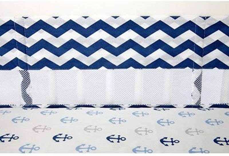 Little Love By NoJo Separates Collection Chevron Print Crib Liner Navy White