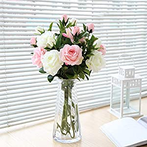 artificial roses flowers 50pcs real looking faux fake roses with stems for diy wedding bouquets bridal baby shower centerpieces floral arrangements home decorations (cream, 50) silk flower arrangements