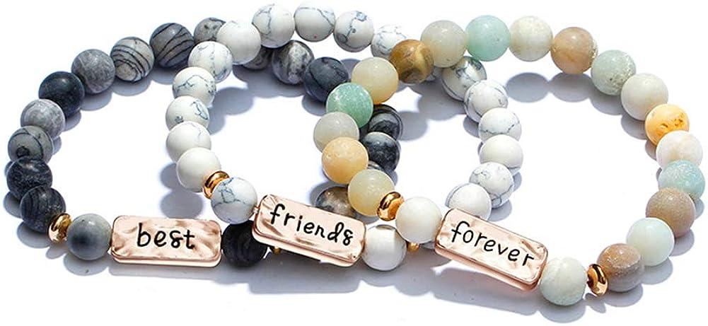 YINI 3 Pcs Natural Volcanic Stone Friendship Bracelets Handmade