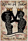 ANM 4Love Couple Poster Personalized Name African American Couple with Crowns Black Silhouette We're A Team Wall Art Hanging Painting Paper Photography Watercolor Living Classroom Home Decor No Frame