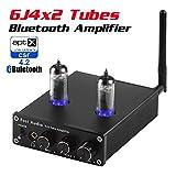 Neoteck Amplificateur Audio Stéréo Bluetooth 4.2 Récepteur 6J4 Tubes à Vide Certifié aptX Faible Latence 2 Canaux Mini Hi-FI Puissance Numérique Contrôle Basses Aigus Haut-Parleur Domestique 50W+50W