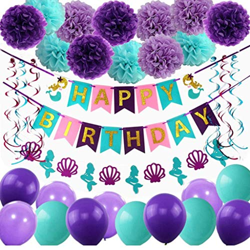 Amycute Juego de 44 pompones de papel de sirena, pancarta de feliz cumpleaños, globos, guirnaldas en espiral, ideal para fiestas de niñas bajo el mar temática de novia y baby shower.