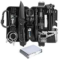 ➤【ALL IN ONE SURVIVAL KIT FOR EXTREME ADVENTURES】This all in one survival kit contains everything that any survivalist or outdoor enthusiast would need. Includes emergency blanket, fire starter, scraper, compass, swiss card, flashlight, whistle, Surv...