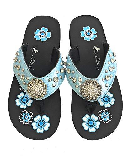 Montana West Flip Flops Sandal Shiny Straps Crystals Floral Concho Blue 9