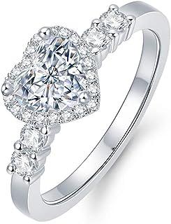 14K White Gold Engagement Ring for Women 1.3 Carat(ctw) Heart Moissanite Wedding Ring, 10K 14K 18K Yellow Gold Ring Free P...