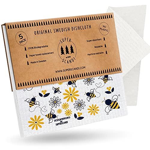 SUPERSCANDI Swedish - Paños de limpieza reutilizables biodegradables de celulosa para paños de cocina (5 paquetes con patrones, abejas)