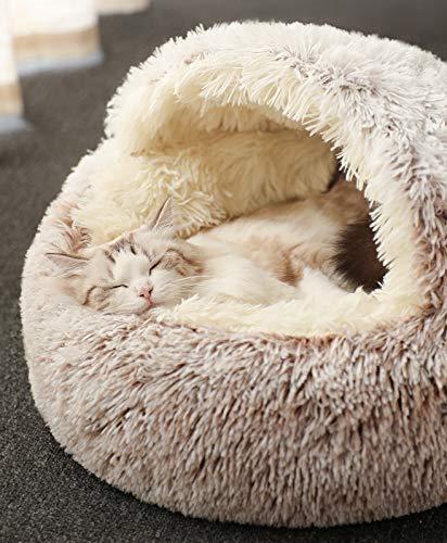 Katzenschlafsack, Plüsch-Katzenbett, Decke, selbstwärmend, Haustier, Katzensack, Zelt, Höhle, weich, rutschfest, waschbar, dunkelbeige