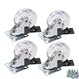 YeMI 4 Pack 3 Inch Swivel Caster Wheels for Furniture 800Lbs Lockable Heavy Duty Clear Polyurethane Rolling Wheels with 360 Degree Top Plate for Cabinet,Ottoman,Bench(Gel Clear, Screws Included)…