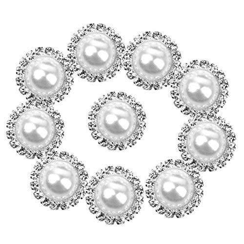 NaisiCore 10pcs Mujeres Perla Botones Granel Perla Redonda Estilo Retro simulado Rhinestone Botones de Cadena, Collar, Pendiente, Corona, Pinza de Pelo (15mm) para los Hombres