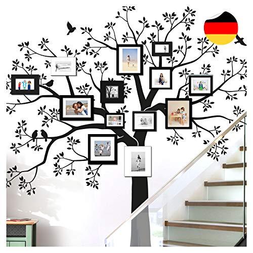 Grandora Wandtattoo XXL Baum Vögel I schwarz (BxH) 130 x 125 cm I Wohnzimmer Schlafzimmer Flur Sticker Aufkleber selbstklebend Wandsticker Wandaufkleber W5480