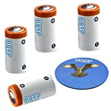 HQRP 4-Pack 3V Batteries for Golf Rangefinders Using, Electronic Games, Torch, SureFire Titan/Tactical flashlights + HQRP Coaster