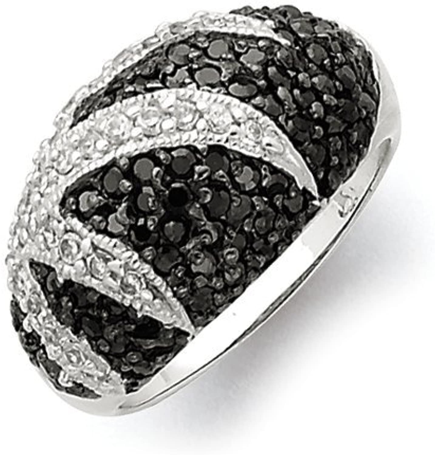 gold and Watches Sterling Silver Antiqued Black & White CZ Ring