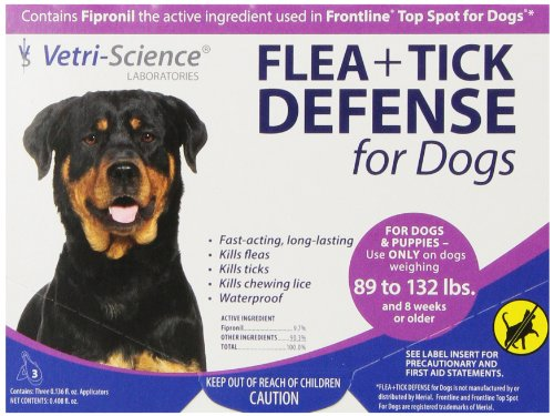 VetriScience Laboratories (090050D.003) Flea + Tick Defense for 89 to 132-Pound Dogs and Puppies, 3 Doses