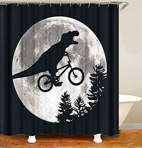 ZZZdz Een krokodil in zadel A een fiets onder de maan. Waterdicht. Gemakkelijk te reinigen. 12 haken gratuit.D-druk. Niet sbiadire.douchegordijn 180 x 180 cm.