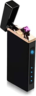 iLevar Windproof Electric Arc Lighter, Touch Switch Rechargeable Dual Plasma Lighter with LED Battery Indicator, Safety Flameless USB Lighter for Fire - Outdoor and Indoor Use …
