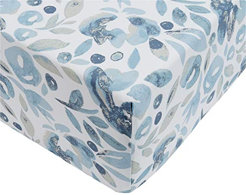 Oferta de Amazon Basics - Sábana ajustable de microfibra premium (90 x 200 cm), azul niebla acuarela