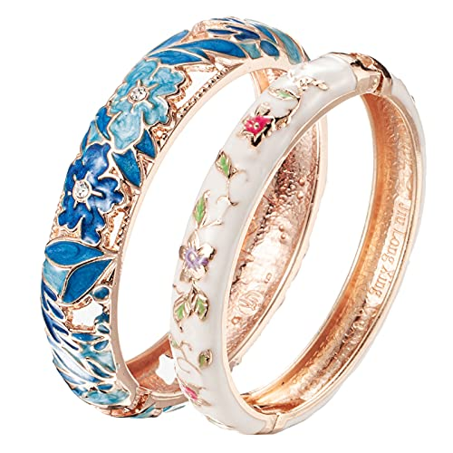UJOY Bracelet Cloisonne Jewelry Fashion Opening Hinged Bangles Crafted Blue Colored Enamel Flower Gifts for Women 88A12 Blue White