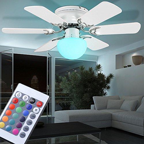 Decken Ventilator Leuchte Beleuchtung Farbwechsel Dimmer Lampe im Set inklusive RGB LED Leuchtmittel