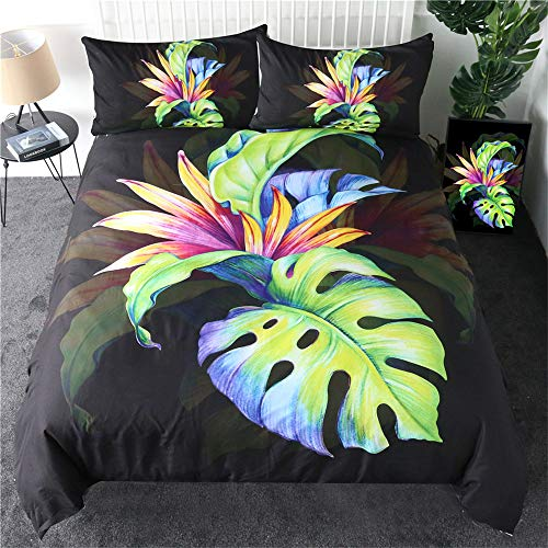 Tropical Duvet Cover Set Green Leaf Bedding Set Bird of Paradise Quilt Cover Strelitzia Reginae Aiton Bedspreads,210cmx210cm