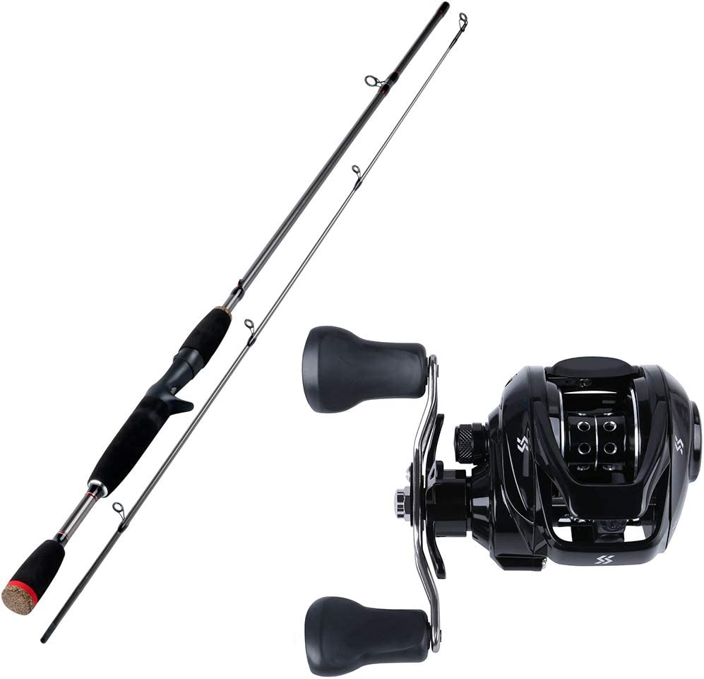 1.8M Super Light Pesca del Bastidor de se/ñuelo de Rod M Power 2Secci/ón acci/ón r/ápida ca/ña de Pescar Conjunto se/ñuelo Peso Casting Carretes Conjunto