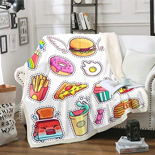 Loussiesd Donut Manta de forro polar para silla sofá Hamburguesa Pizza Sherpa manta decorativa tema de alimentos difusa manta colorida de dibujos animados manta de felpa King 87 x 94 pulgadas
