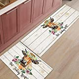 BestLives Kitchen Rug Set of 2 Piece Not Today Heifer Farm Cow Ox Flower Floor Mats Non-Slip Area Runner Carpet Washable Carpet Indoor Doormat Pad Sets,15.7'x23.6'+15.7'x47.2'