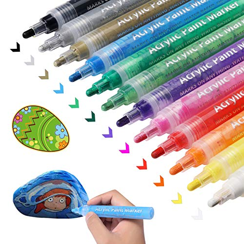 Acrylic Paint Marker Pens for Rocks Painting, DIY Kids Craft Making Supplies Acrylic Paint Pens for Egg, Metal,Stone, Wood, Glass, Ceramic, Fabric, Mugs, Paints for Kids Acrylic Paint Kits (12 Colors)