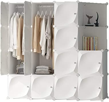 XBZHYG Portable Closet,White Clothes Wardrobe Bedroom Armoire Storage Organizer, Capacious & Sturdy, 8 Grid 2 Hanging+Corner Cabinet, Size: 147×47×147cm