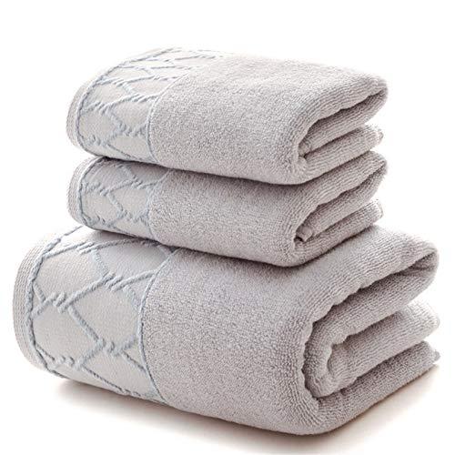 PrittUHU Toalla de Lujo 3 unids Conjunto 1 unids Toalla de baño Grande para Adultos / 2pcs Toallas de Cara 100% algodón Gruesa Agua Suave de Secado rápido (Color : Gray, Size : 2Pcs34x74 1Pcs70x140)