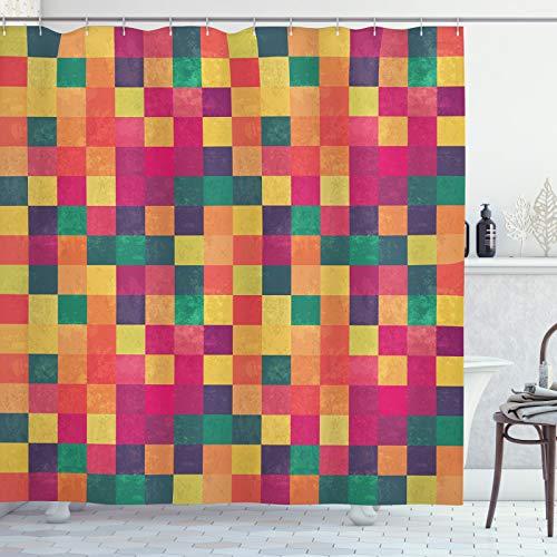 ABAKUHAUS Abstrakt Duschvorhang, Weinlese-Bunte Quadrate, Set inkl.12 Haken aus Stoff Wasserdicht Bakterie & Schimmel Abweichent, 175x220 cm, Mehrfarben