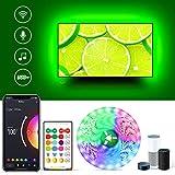 USB LED TV Hintergrundbeleuchtung Arbeitet mit Alexa, 4.8m Wifi 5050 LED Streifen mit App und IR Fernbedienung, 5050 RGB Farbwechsel Light Strip mit Musik sync für 60-72 Zoll TV/PC Monitor