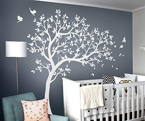 White Tree Wall Decals Large Nursery Tree Stickers with Birds Awesome White Tree Wall Stickers Wall Decals Mural Wall Sticker Removable Vinyl KW032R