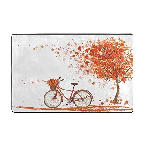 Alfombra antideslizante para sala de estar o dormitorio, 152,4 x 99,1 cm, para bicicleta bajo hojas de otoño